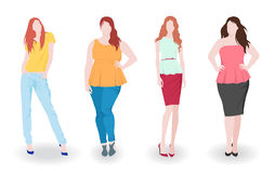 Slim and fat fashion women Royalty Free Stock Photography