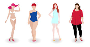 slim and fat fashion women Stock Images
