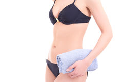 Slim female body in black bikini Stock Photography