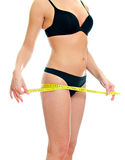 Slim female body with measure tape Royalty Free Stock Photos
