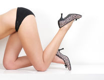 Slim female body in underwear with high heel shoes Royalty Free Stock Photos