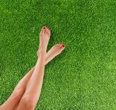 Slim female legs on grass Royalty Free Stock Photo