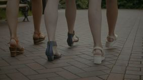 Slim female legs walking on cobblestone sidewalk. Closeup of perfect elegant female legs in stylsih shoes walking along cobblestone sidewalk on summer day. Low stock video footage