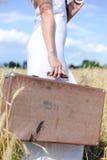 Slim female's figure in white dress with  retro Stock Photos