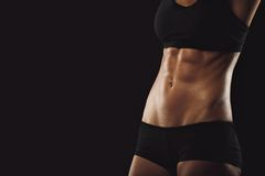 Slim and fit woman belly. Torso of fitness female. Mid section of woman body with muscular abs on black background with copyspace Stock Photography