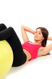 Slim fitness womanworkout crunches exercises stock photos