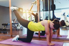 Slim fitness young woman Athlete girl doing plank exercise with stock photos