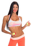 Slim fitness young woman with a tennis ball Royalty Free Stock Photos