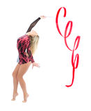Slim flexible woman rhythmic gymnastics art. Isolated on a white background Royalty Free Stock Images