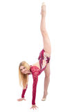Slim flexible woman rhythmic gymnastics art dancer Stock Photos
