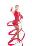 Slim flexible woman rhythmic gymnastics art dancer Royalty Free Stock Photography