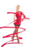 Slim flexible woman rhythmic gymnastics art dancer. Isolated on a white background royalty free stock photos