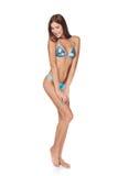 Slim garvade kvinnan i blå bikini Royaltyfri Foto