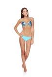 Slim garvade kvinnan i blå bikini Royaltyfri Fotografi