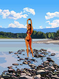 Slim girl in a bathing suit standing with hands raised in the river Royalty Free Stock Photos