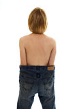 Slim girl in big size jeans Royalty Free Stock Photos