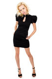 Slim girl in black dress Royalty Free Stock Photography
