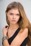Slim girl in black dress Stock Photo