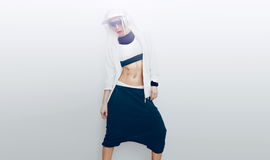 Slim girl dancer on white background. Royalty Free Stock Image