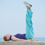 Slim girl does morning exercises Royalty Free Stock Images