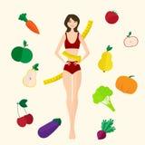 Slim girl, fresh fruits and vegetables. Proper Stock Photo