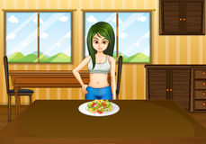 A slim girl in front of a table with a plate full of foods. Illustration of a slim girl in front of a table with a plate full of foods vector illustration