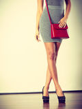 Slim girl in gray skirt with red handbag Stock Photography