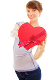 Slim girl holding red heart Stock Image