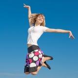 Slim girl jumping Royalty Free Stock Photos
