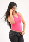 Slim girl with long loose hair Stock Photo