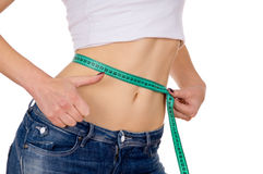 Slim girl measure its waist and shows OK Stock Images