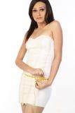 slim  girl measuring her waist Royalty Free Stock Photography