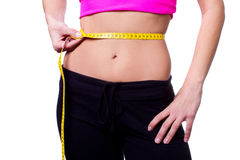 A slim girl measuring her waist Royalty Free Stock Image