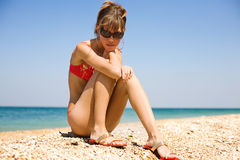 Slim girl at the sea Stock Image