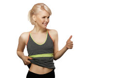 Slim girl show thumb up Royalty Free Stock Images