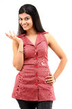 Slim girl showing actions with her hand. Smiling girl showing actions with her hand Royalty Free Stock Photo