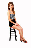Slim girl sitting. Royalty Free Stock Photos