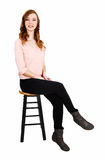Slim girl sitting. Royalty Free Stock Image