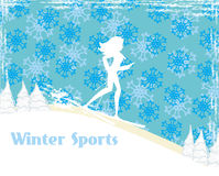 Slim girl skiing , abstract card Stock Photos