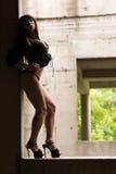 Slim girl on the street Royalty Free Stock Image
