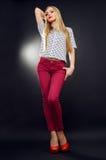 Slim girl in studio Royalty Free Stock Images