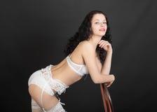 Slim girl in white lingerie Royalty Free Stock Photography
