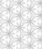 Slim gray hatched small trefoils and wavy triangles Stock Image