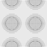Slim gray offset circles on stripes Stock Images