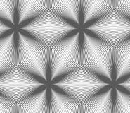 Slim gray striped hexagons forming black flowers Stock Photos