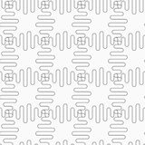 Slim gray stripes circles on striped triangles Royalty Free Stock Image
