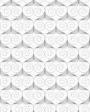Slim gray swirly hearts in grid Stock Photo
