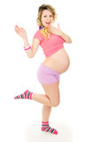 Slim happy a pregnant girl surprised Stock Photos
