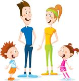 Slim health family cartoon flat design illustration  - vector Royalty Free Stock Photo