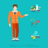 Slim healthy lifestyle vector flat infographic: diet, sport, food. Flat slim healthy lifestyle vector infographics concept. Thin male man human figure front view Royalty Free Stock Photos